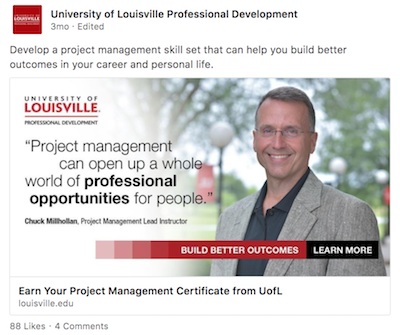 Screen Shot of Project Management Campaign LinkedIn Post