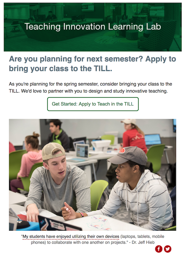 Screen Shot of TILL Email Campaign