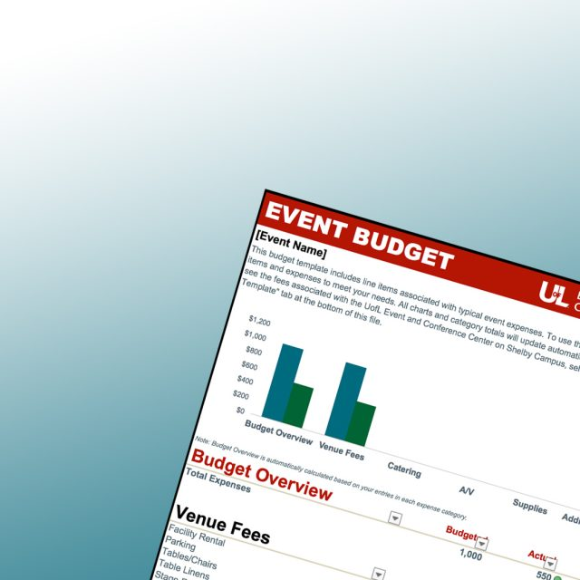 Screen Shot of the Event Budget Template Content